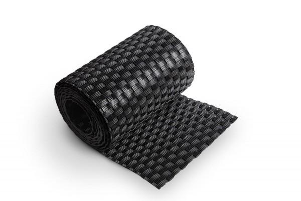 Sichtschutzstreifen Schwarz Rattan, Streifen- Zuschnitt