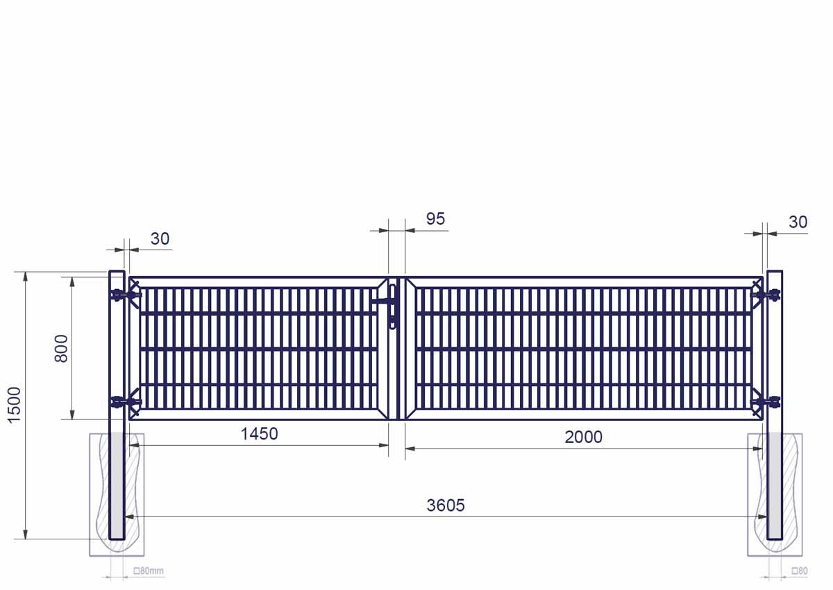 B=3000mm Asymmetr Doppeltor PROFI 2-flg ZINK Doppelstabmattenzaun Gartentor