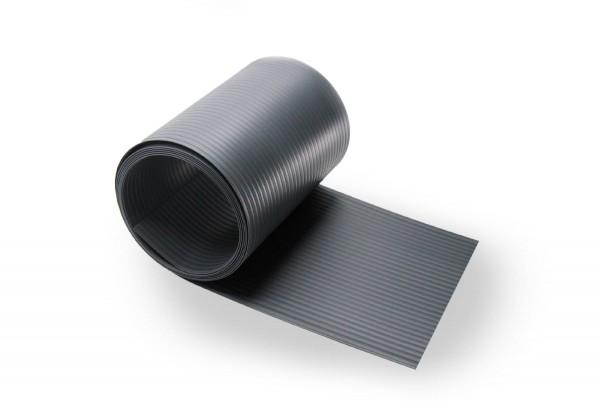 Sichtschutzstreifen Premium Q9 mit Querrillen, Streifen-Zuschnitt, 0,9mm Kernwanddicke Anthrazitgrau