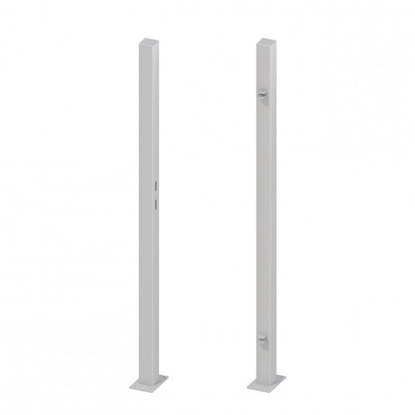 Torpfosten-Set z. Aufschrauben für Einzeltor Silber 195 cm